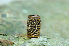 Moustache and Hair Bead Bronze Celtic Knots with Rubber Pearl Hair Bead