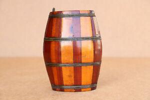 Old Antique Vintage Wooden Wood Barrel Keg Canteen Cask Pocket Size Excellent