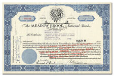 Meadow Brook National Bank of Nassau County Stock Certificate (Long Island)