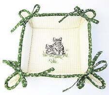 Cat Biscuit Basket -Waffle Fabric, Embroided Grey Kittens, Green Flower Trim