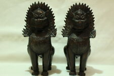 Antique Cambodia Khmer Dynasty Buddhism Statue Foo dog Lion Lucky Guardian Pair