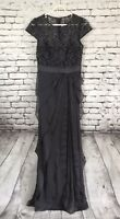 ADRIANNA PAPELL Evening Dress Gown Lace Bodice Tiered  bottom Women's size 4