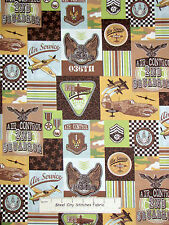 Airplane Fabric - Squadron Plane Flying Marcus Fabrics Fly Boy Patchwork -1.58Yd