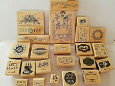 Stampin' Up! Lot of 25 Wood Mounted Rubber Block Stamps Embossing Stamping