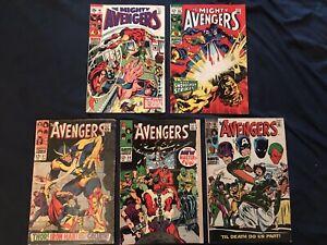 AVENGERS Silver Age Lot of 5 comics: #51, 54 (Key), 60, 65, 66: Average G/VG
