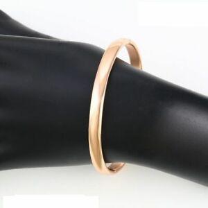 "9ct 9K Rose ""Gold Filled"" Plain Solid Openable 60mm Bangle Bracelet Girl Ladies"