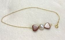 18K Yellow Gold Bracelet with Pearl & Heart Resin