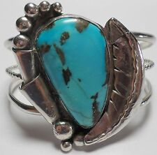 """Vintage Navajo 925 Sterling Silver Dead Pawn Turquoise Bracelet Cuff 43Gms 6.50"""""""