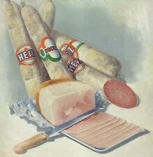 cartello pubblicità CUORE Wurst Dipinto Circa 1900