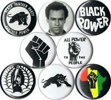 set of 8 Black Panther Party pins buttons fist africa power to the people