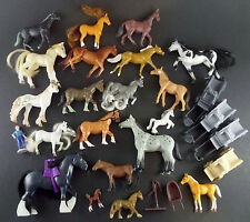 "Horse Toys 27 Pc Lot w/ Wagons & Accessories Brushable Breyer Schleich 1"" - 5"""