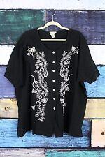 The Avenue Black Floral Linen Cotton Shirt Top Tunic Plus 26/28 3X Lagenlook