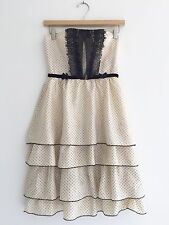 REBECCA TAYLOR Anthropologie Silk Polka Dot Strapless Dress Size 2 Ivory Black