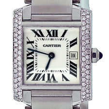 Cartier Tank Francaise Ladies Midsize Diamond Stainless Steel Watch W51011Q3