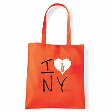 Art T-shirt, Borsa shoulder I Love NY, Arancio, Shopper, Mare