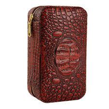 CIGARISM Crocodile Pattern Style Genuine Leather Cedar Cigar Travel Case Humidor