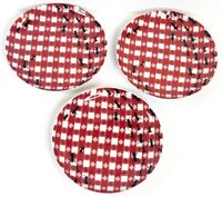 Pier 1 Imports Porcelain Snack Cheese 3 Plates Set Black Ants Red Gingham 6.5 in