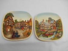 2 Old Vtg A Legend Product 3D Relief Sculpture Chalkware Wall Plaque England