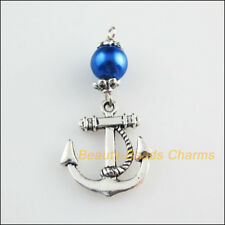 6 New Charms Blue Glass Round Beads Anchor Pendants Tibetan Silver Tone