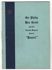 1929 HAMLET PROGRAM Shakespeare SIR PHILIP BEN GREET Players NEW BEDFORD MASS MA