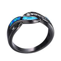 Wavy Blue Fire Opal CZ Cross Band Wedding Ring 10KT Black Gold Filled Size 5-10