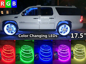 "4x 17.5""IP68 Bluetooth Ctrl RGB ColorChanging illuminated LED Wheel Rings Lights"