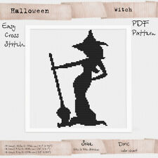 Witch Cross stitch PDF digital Pattern Halloween Embroidery #283