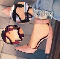 Women High Heels Ankle Strap Pointed Toe Thick Heels Pumps Shoes Wedding Shoes Q