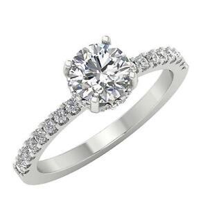 Solitaire Engagement Round Cut Diamond Ring I1 G 1.42Ct 14K White Gold prong Set