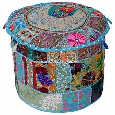 Indian Embroidered Patchwork Ottoman Comfortable Floor Cotton Ethnic Pouff Cover