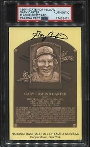 SIGNED Auto HOF Plaque Yellow Postcard GARY CARTER PSA/DNA AUTHENTIC