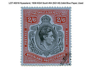 0018: Nyasaland, 1938 KGVI Scott #64 (SG140) 2s6d Blue Paper, Used