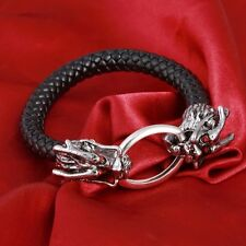 Leather And Silver Metal Dragon Head Bracelet