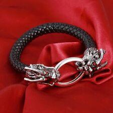 Leather and Tibetan Silver Bracciale Testa di Drago