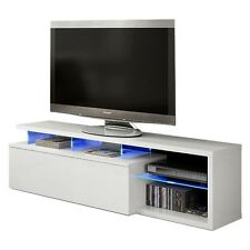 Mueble de comedor salon TV Blue-tech modulo salón con leds, color Blanco Brillo