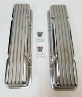 Small Block Chevy SBC Nostalgic Polished Aluminum Finned Valve Covers No Hole