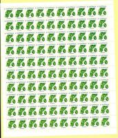Australia 1974 Hinged Stamps Sheet 100x 6c Chryoprase White Paper Gemstone issue