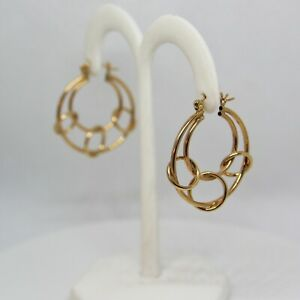 Circle Hoops 14K Yellow Gold Earrings Brand New