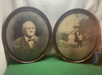 Vtg PAIR 1930-40's Tiger Stripe Oval Frame Family Grandpa Portrait Convex Glass