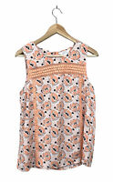 Stitch Fix Market & Spruce Womens Medium M Floral Lace Inset Sleeveless Blouse