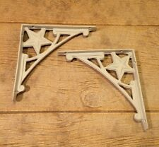 "White Cast Iron Star Corner Shelf Bracket (Set of Two) 8"" Home Decor 0170S-06511"