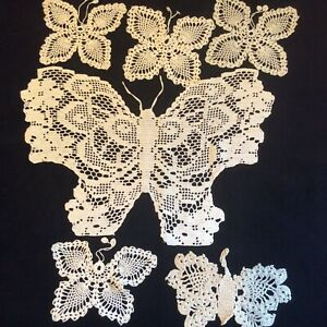 Vintage crochet Doilies, lot of 6 Butterfly White