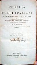 1825 – TEORICA DEI VERBI ITALIANI – LINGUA GRAMMATICA LINGUISTICA ITALIANA