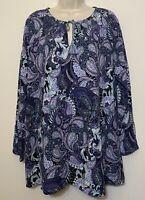 J.Jill Medium Blouse Blue Paisley 3/4 Sleeve Tassle Neck Tunic Top