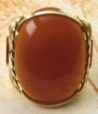 Large Carnelian Artisan Ring 14k Rolled Gold Mens or Ladies