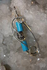 BLUE TURQUOISE .925 STERLING SILVER WIRE WRAPPED PENDANT Handmade by Karen