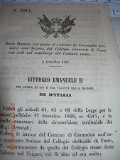 REGIO DECRETO 1867 COMUNE CARUNCHIO COSTITUIRà SEZ COLLEGIO ELETTORALE VASTO