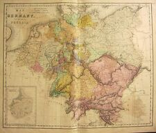 1850 LARGE HAND COLOURED MAP ~ GERMANY WITH PRUSSIA ~ GERMAN CONFEDERATION