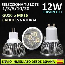 LED 12W GU10 MR16 (3 COLORES DE LUZ) LOTE (SPOT BOMBILLA HALOGENO DICROICA BULB)