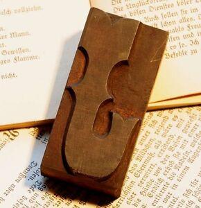 "Letter ""J"" rare decorative wood type character letterpress printing block font"